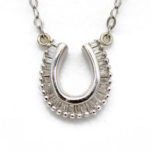 Baguette Diamond Horseshoe Pendant